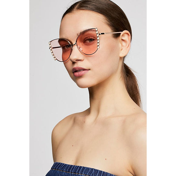 Free People Cool Cat Pearl Sunglasses Hot Pink