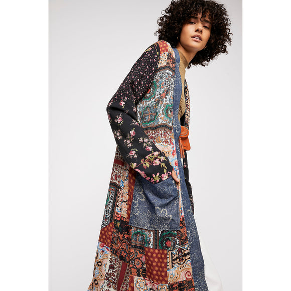 Free People Songbird Patched Coat Multi-Combo