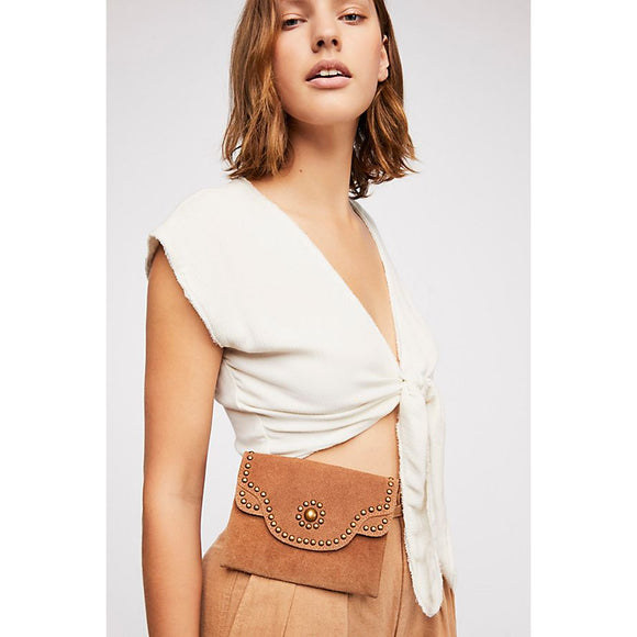 Free People Talia Distressed Belt Bag Brown