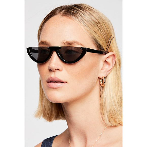 Free People Tres Chic Half-Frame Sunglasses Jet Black