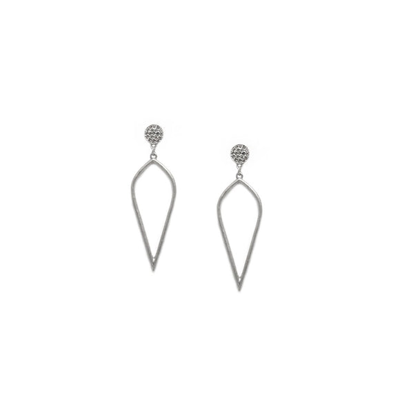 Silver - Open Teardrop Crystal Post Earrings 2.5