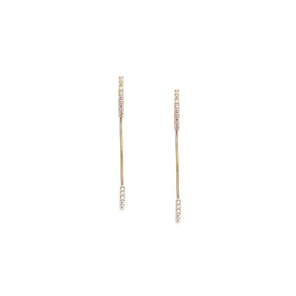 Gold - Stud & Long Stick Post Earrings