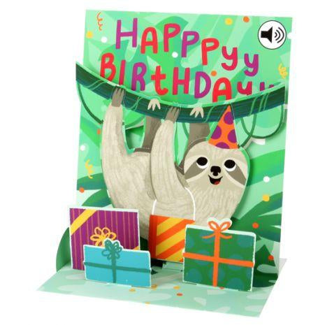 Musical Sloth Popup Happy Birthday Card