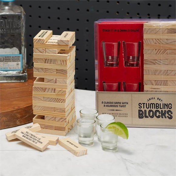 Stumbling Blocks Game with 4 Shot Glasses 60 Wood Blocks