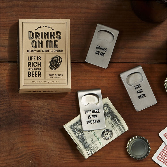 Two's Company Bottle Opener Money Clip in Gift Box 3 Styles