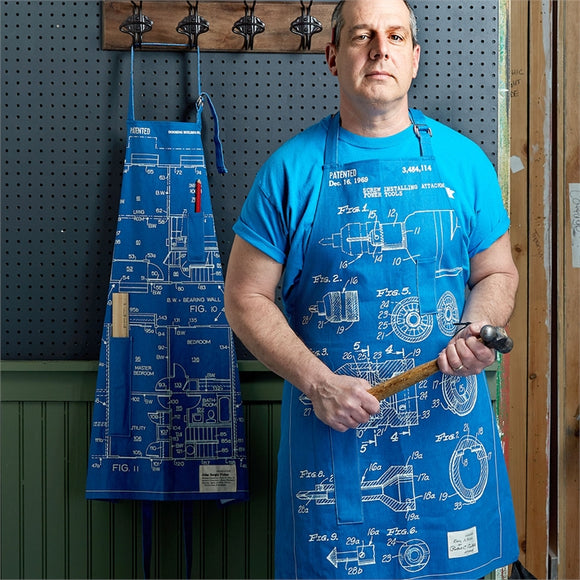 Two's Company Blueprint Apron with 12