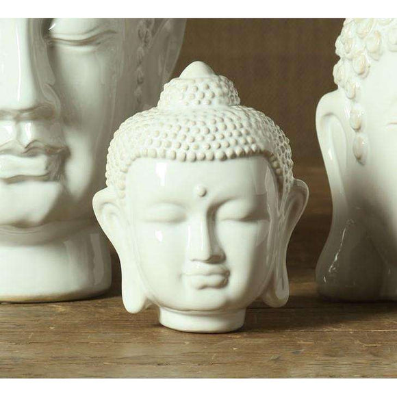 Ceramic Buddha Head - Small – Shiny White