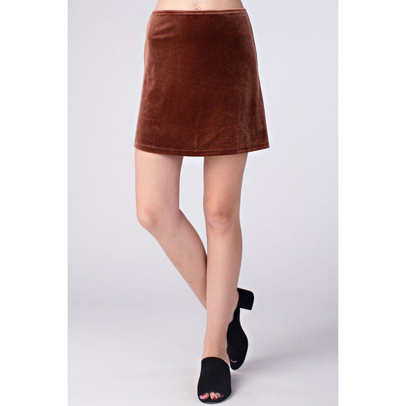 Honey Punch Basic Velvet Skater Skirt Cocoa