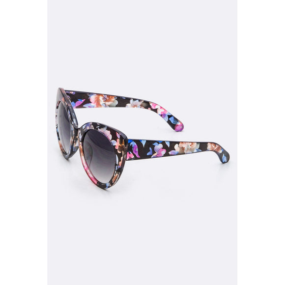 LA Jewelry Floral Pattern Cat Eye Sunglasses 3 Colors