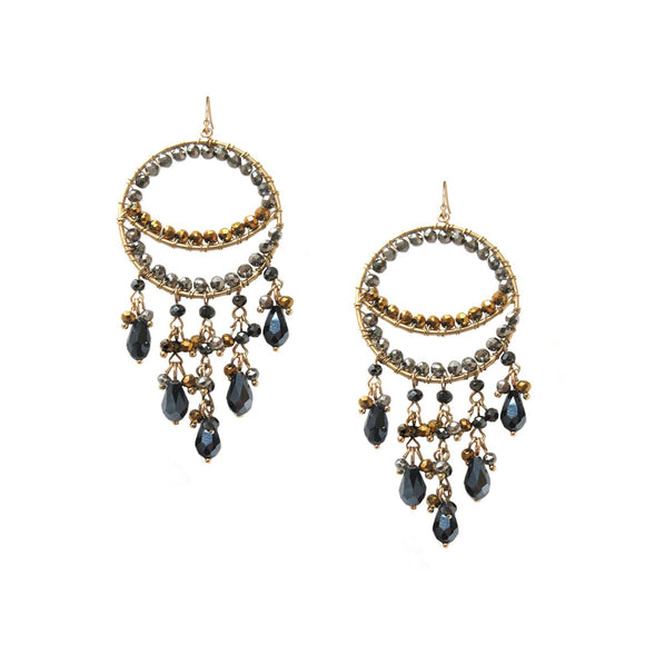 Marlyn Schiff Large Beaded Chandelier Earrings