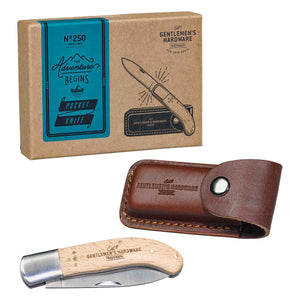 "Gentlemen's Hardware Foldable 3"" Stainless Steel Pocket Knife Beech Wood Handle"