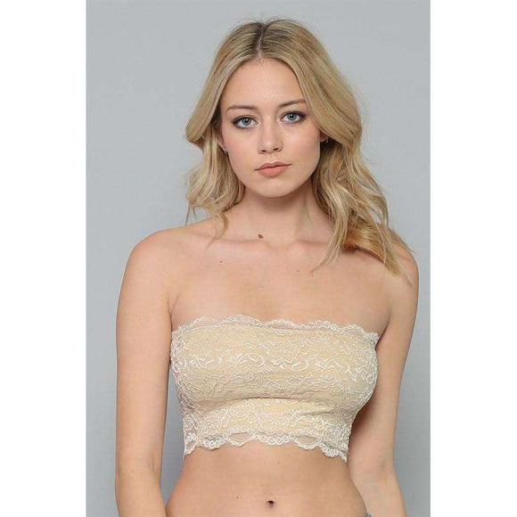 By Together Wide Lace Bandeau with Lining in Front Natural TT5507