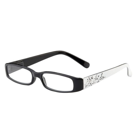 Eye Candy Storm Reader Black Frames White Etched Temples
