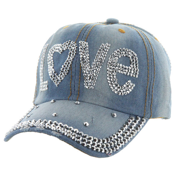 Andrea Bijoux Love Stone Washed Denim Baseball Cap