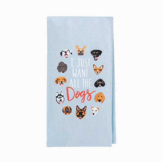 About Face Designs I Just Want All The Dogs Tea Towel Blue