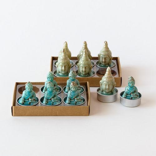 Buddha T-Light, St/6, 2 Asst, Gift Box, 1.75