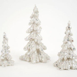 "Silver Glittered Tree 4"", 6"", 8"""