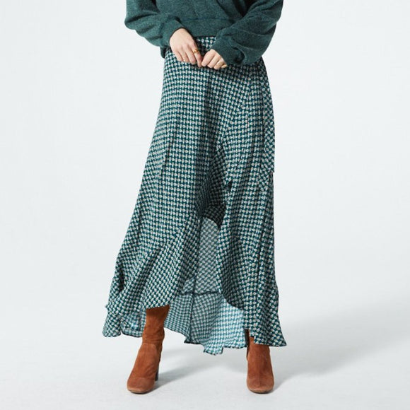 Band of Gypsies Brexlyn Maxi Skirt Green Gold