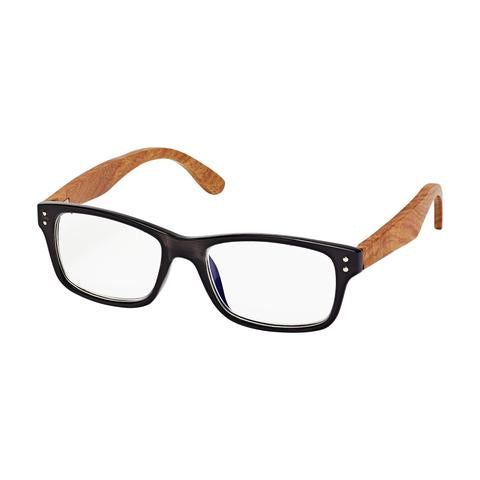 Blue Planet Ojai Reader Black with Rosewood Temples