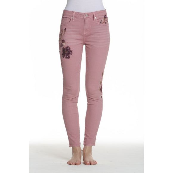 Driftwood Jeans Jackie Skinny Purple Floral Embroidery Dusty Pink Penelope Wash