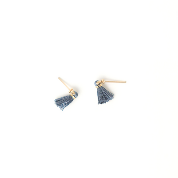 Sarah Briggs Small Tassel Post Earring Denim 14kgf