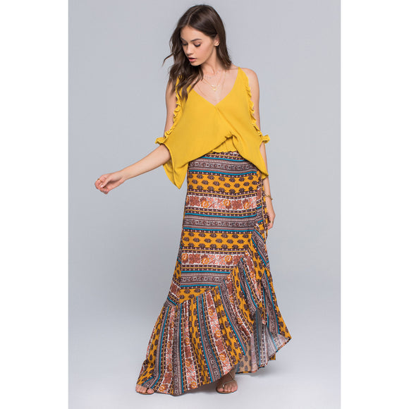 Band of Gypsies Native Stripe Uneven Ruffle Wrap Skirt