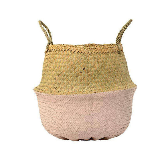 Seagrass Basket w/ Handles, Natural & Rose 13.75