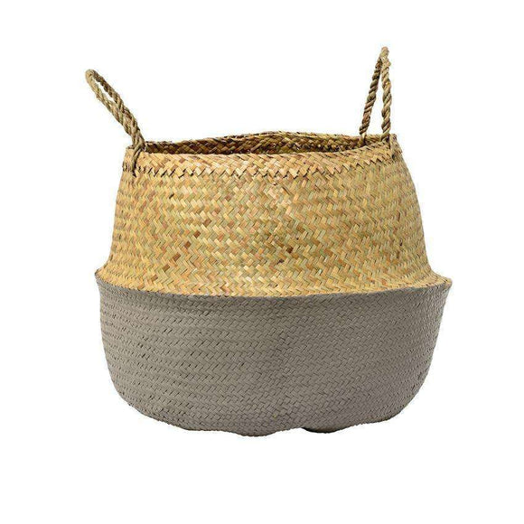 Seagrass Basket w/ Handles, Natural & Grey 19-1/2