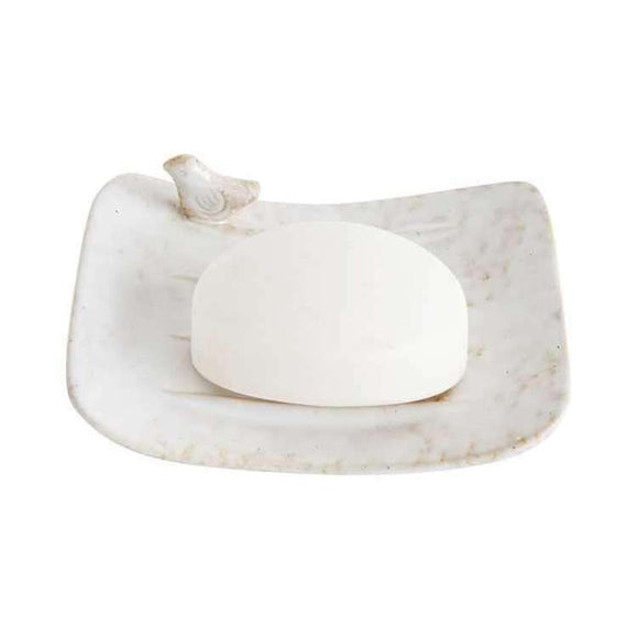 Stoneware Hand Soap Dish with Bird in White