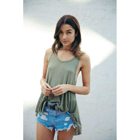Sage the Label Freebird Tank Color Olive