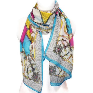Accessorize Me Turquoise Trimmed Chain Yellow Pink Chiffon Scarf