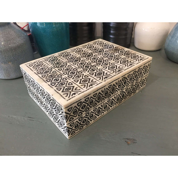 Bone Box in Black Traditional Pattern 7.25 x 5.25 x 2.5 in