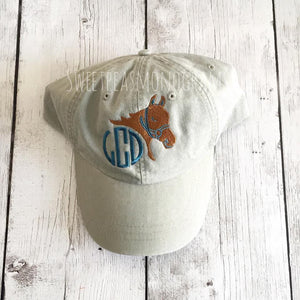 Horse Monogram Baseball Cap, Personalized Hat