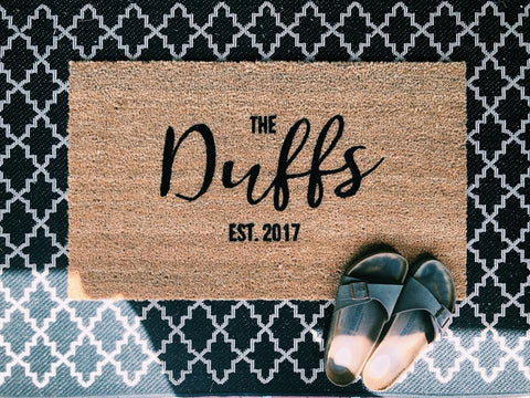 Custom name door mat wedding gift