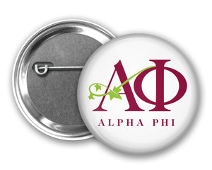 Alpha Phi Pin Back Button