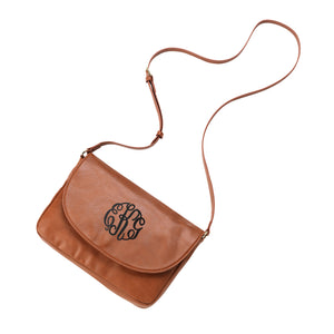 Monogram Vegan Leather Anna Cross Body - Camel
