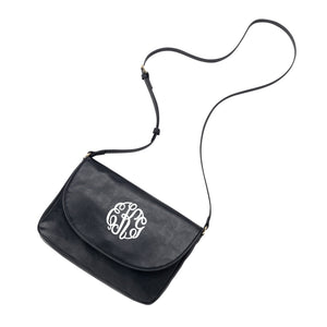 Monogram Vegan Leather Anna Cross Body - Black