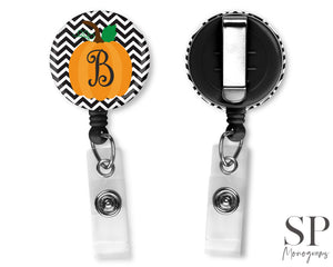 Pumpkin Initial Retractable Badge Reel
