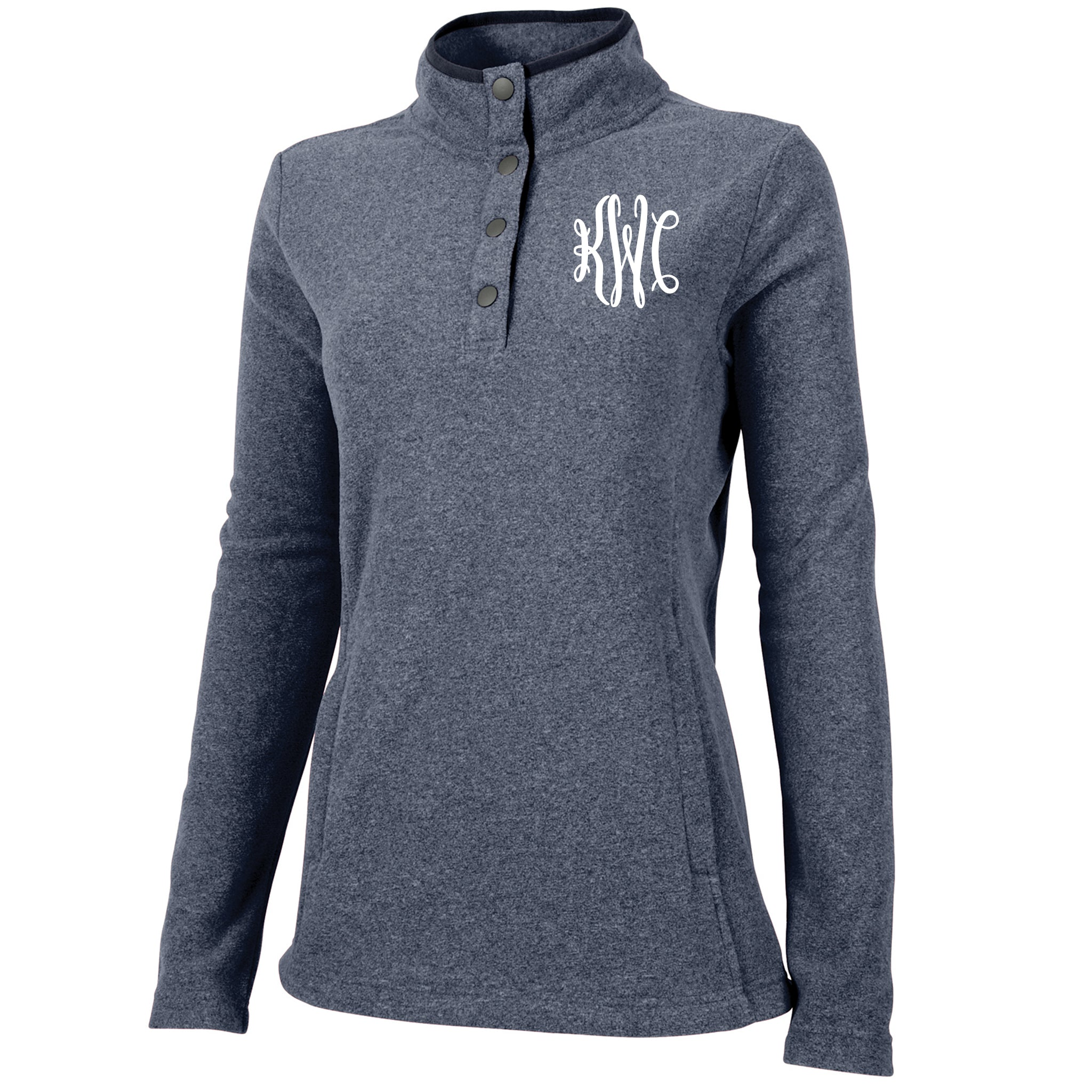 Monogram Bayview Fleece Pullover in Blue