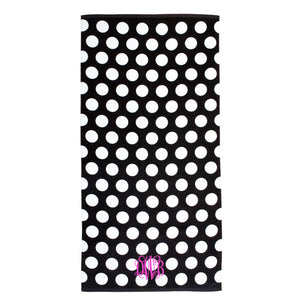 Monogram Beach Towel Black Polka Dot