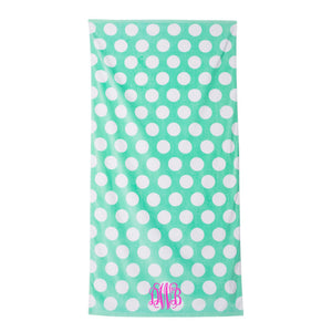 Monogram Beach Towel Mint Polka Dot