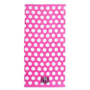 Monogram Beach Towel pink polka dot