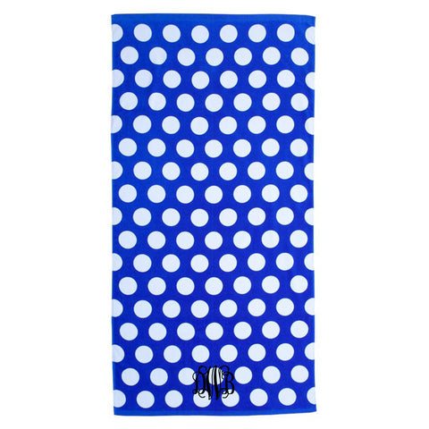 Monogram Beach Towel royal blue polka dot