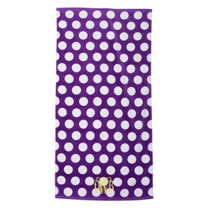 Monogram Beach Towel purple polka dot
