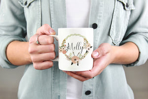 Personalized Floral Name Mug