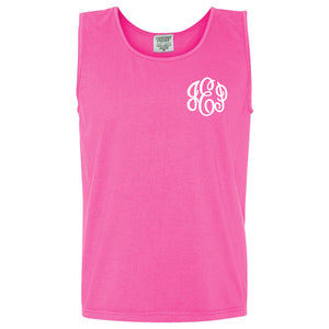 Monogram Comfort Color Tank in neon pink