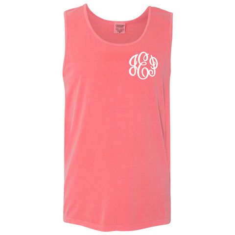 Monogram Comfort Color Tank in watermelon
