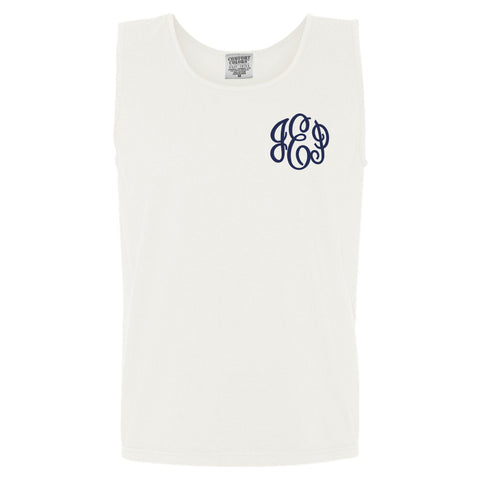 Monogram Comfort Color Tank in white