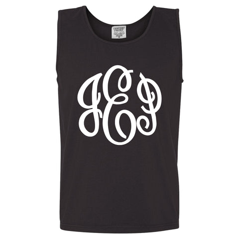 Large Monogram Comfort Color Tank in  black