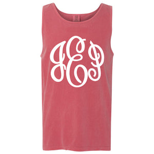 Large Monogram Comfort Color Tank in crimson